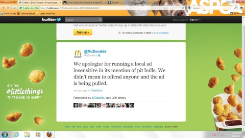 "An ""apology"" from McDonald's. I don't think this is good enough at all. The apology should be more public than this. Perhaps they should even feature pit bulls in a positive light on some of their billboards and tv commercials."