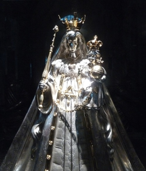 A silver statue of Our Lady of Kevelaer in Antwerp cathedral. It was made by a Belgian silversmith in the 19th century.