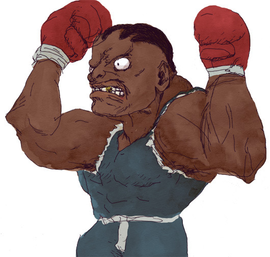 Balrog Real nerds know that in the original Japanese version of Street Fighter II, the boxer who looks like Mike Tyson was called M. Bison, not Balrog. Balrog was the name of the guy we know as Vega, and Vega was the name of the guy we know as M. Bison. Capcom changed the names for fear of Mike Tyson punching them in the face with a lawsuit. Why they didn't just change his name a little instead of switching around all three, I have no idea.