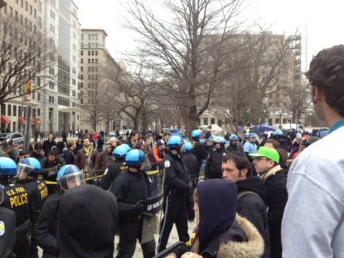 "Occupy DC: Tents cleared out at McPherson Square days after eviction notice, six arrested Occupy DC's been facing an eviction all week, and said eviction started early this morning as tents got cleared out at McPherson Square and the Tent of Dreams got taken down. Six have been arrested in the pre-dawn raid, with police saying that the situation has been relatively peaceful but some Occupy protesters upset about the way things are being handled. ""They want the park to be clear in the coming days, and they're going to keep checking back so [protesters] can't reestablish themselves,"" said National Lawyers Guild member Ann Wilcox, who has been working as a lawyer for the group. Read up over here. (photo via Twitter user occupydcmedia)"