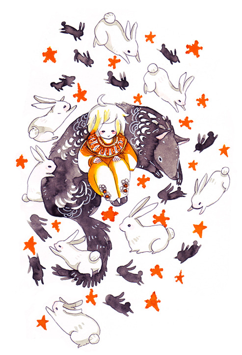 maruti-bitamin:  rabbit dance Sketch commission for Lyra-Of-The-Wolves who requested a wolf and rabbit.
