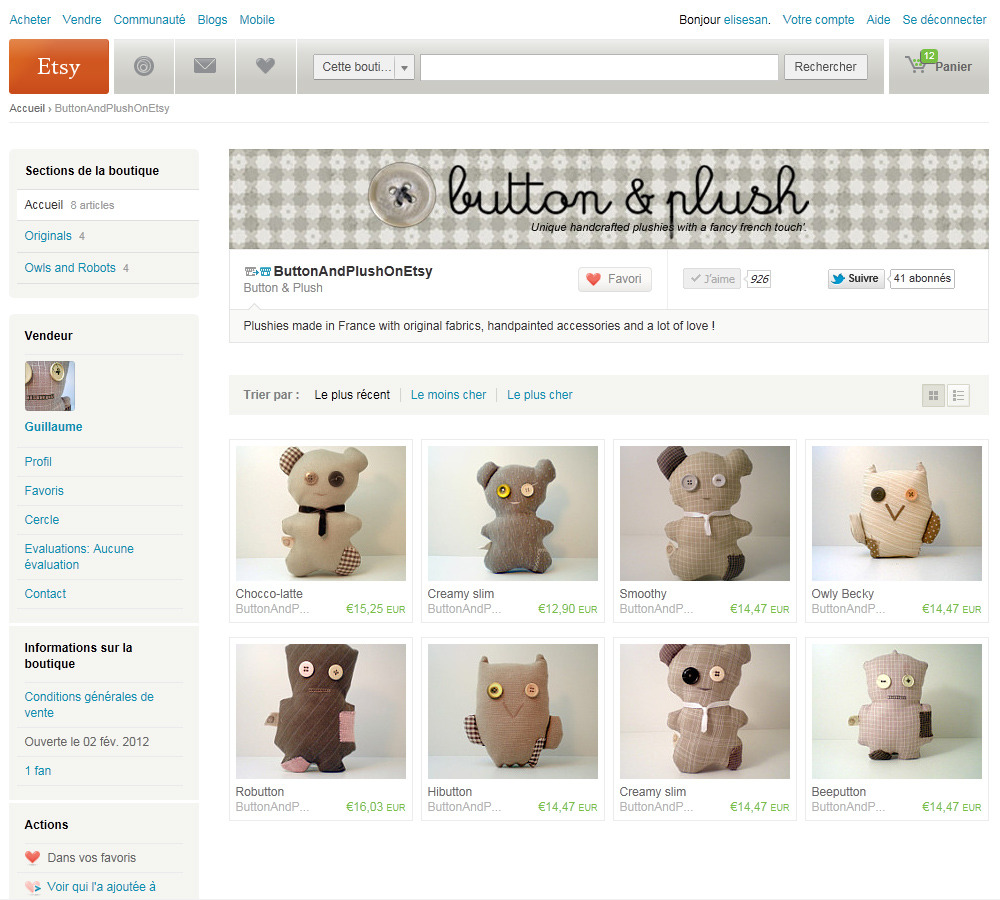 elise-san:  Button&Plush is now on Etsy!!!