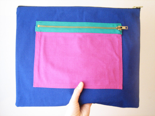 I posted the bright colorblock clutch in my etsy shop.