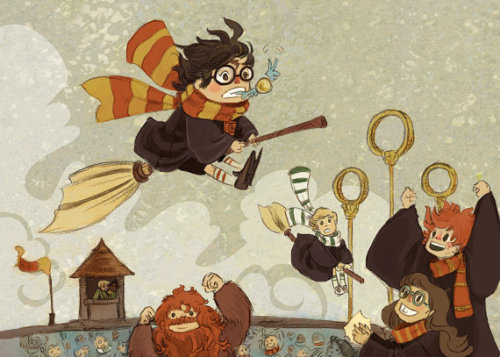 // Harry Catches the Snitch illustration print by theGorgonist on Etsy //