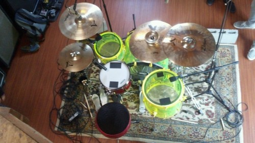 schrodingersdelaypedal:  nickisreallyawesome:  Done recording. Woop :).  Drums are done!