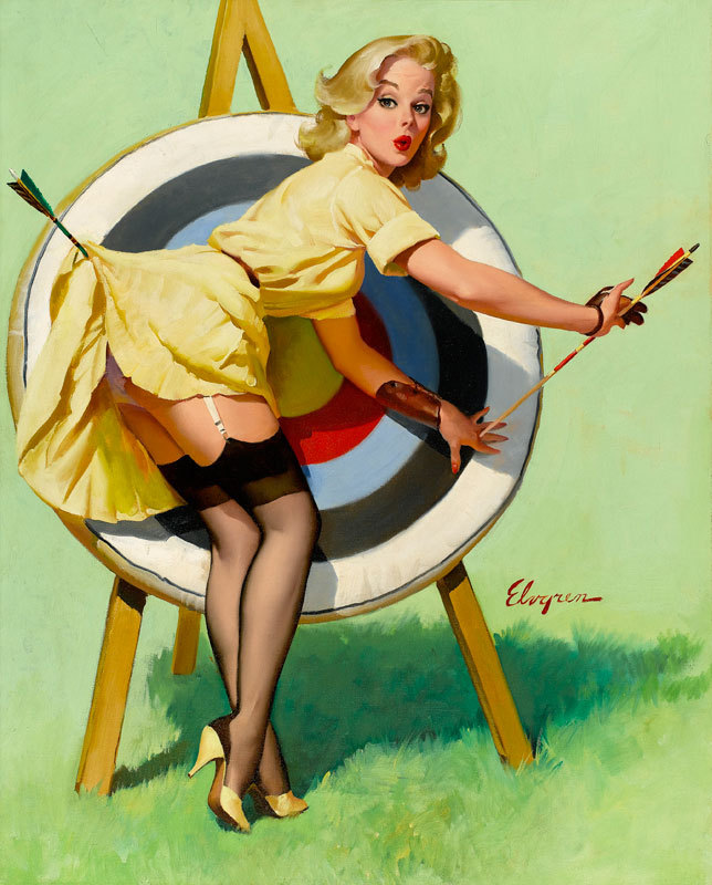 Gil Elvgren, A Near Miss (Right on Target) (1964)