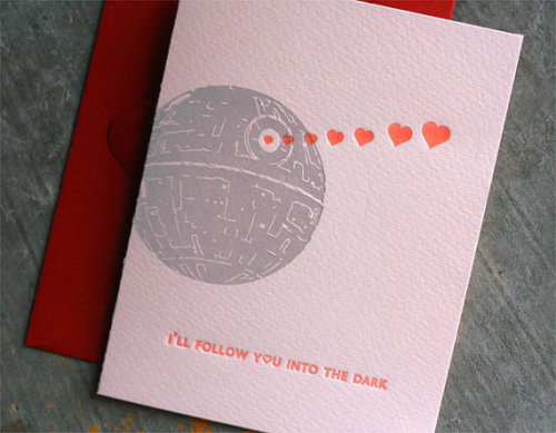 // DARTH VADER Letterpress Valentine Card by DingbatPress on Etsy // <3