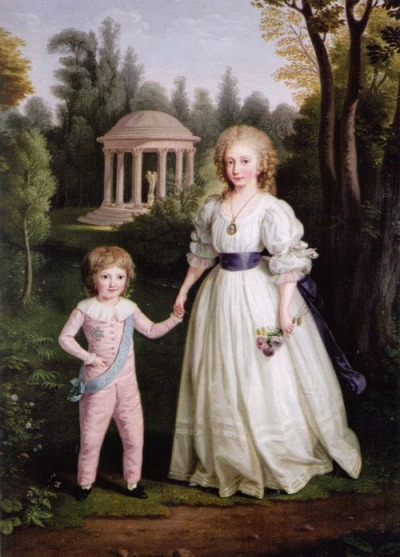 vivelareine:  A portrait of Marie Therese and Louis Charles by Ludwig Guttenbrunn source: my scan from Marie Therese by Susan Nagel