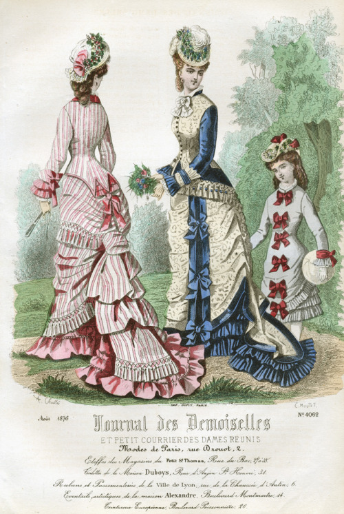 A girl in a simple dress decorated with bows from the August 1876 edition of Journal des Demoiselles.
