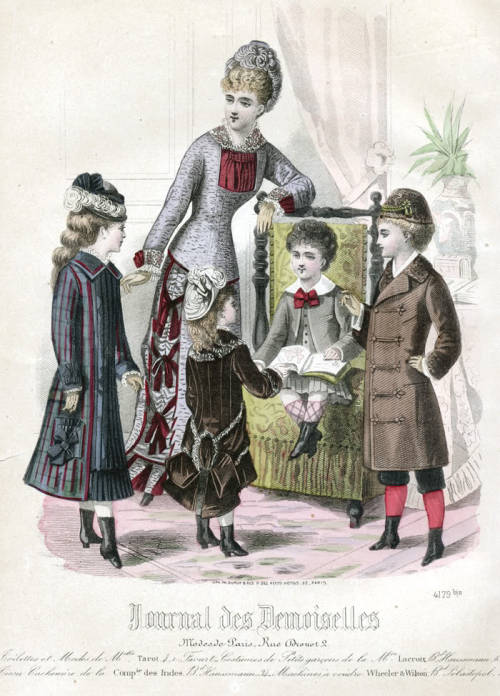 A group of children from an 1876 fashion plate from Journal des Demoiselles.