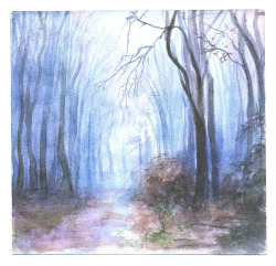 A forest  Watercolour from last week.  Reference: by nelleke.deviantart.com