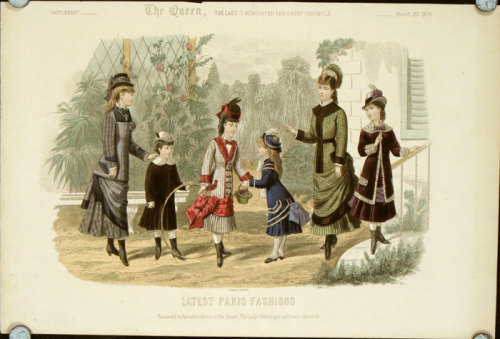 Girls' fashions from The Queen magazine, March 1878. Notice how low-slung the bustle is, a feature that was also appearing in women's clothing during the era.