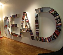 Great Wall of READ. (via Book shelf | Fab.com)