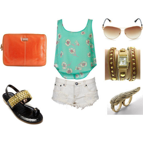 Casual Summer Day by madeline-ward featuring flat heel shoesPrint blouse, $56One teaspoon shorts, $100Amrita Singh flat heel shoes, $50Nine West logo bag, $18Two tone jewelry, $20FOSSIL vintage style jewelry, $38Juicy Couture sunglasses, $98