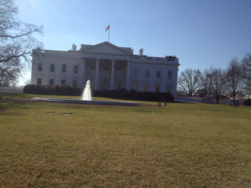 The White House and a fountain.   New York Ave NW at 15th.