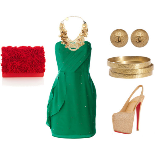 Spring Night Out by madeline-ward featuring chanel earringsOasis party dress, $27Christian Louboutin platform heels, $1,075Clutch handbag, £45Elie Saab choker necklace, £424Chanel earrings, €376Jigsaw bangles jewelry, £39