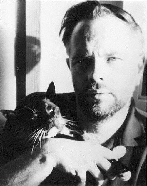 "beneaththeearthscrust:  Philip K. Dick with Cat by nkimadams on Flickr. [snagamat] I like when they're with Cat.  If you start with this post of Foucault with cat by derradiokopf, and go ""newer"" from there, you get a nice series of these."