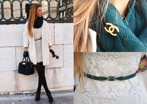 LookBook Pick of the Day: so girly and chique, yet winter appropriate. And I love the forest green accents.