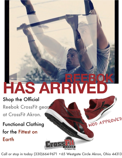 Stop by CrossFit Akron the Reebok CrossFit retailer for NE Ohio. All performance apparel and shoes available.