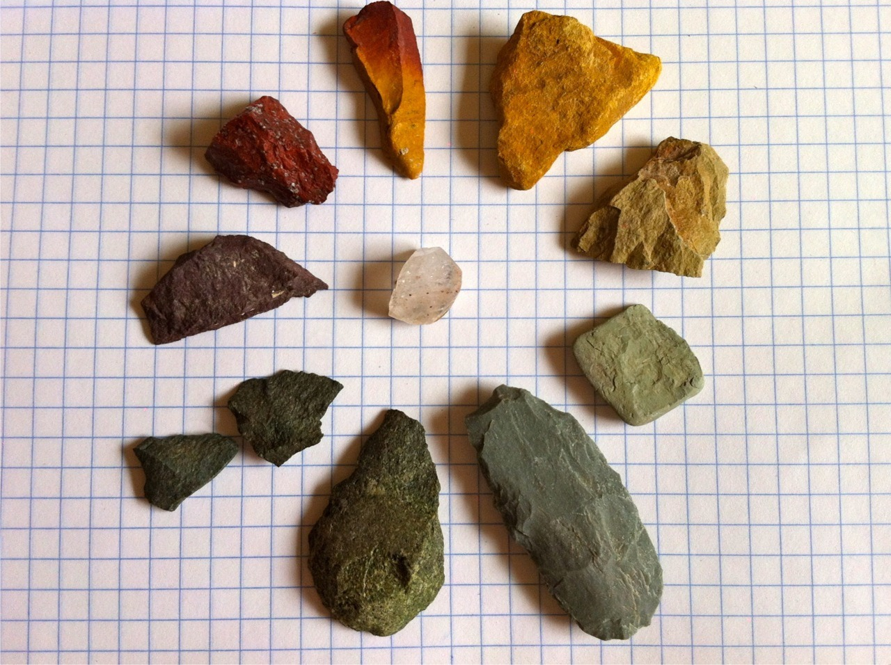 SUBMISSION: Colorful chert flakes and quartz from Las Trincheras, Sonora, Mexico.
