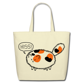WANT! Puffy Calico - lovely eco-friendly cotton tote by ©Cat Versus Human lovely shop.