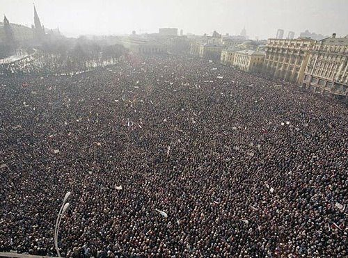 This is Moscow, #Russia on February 4th, 2012. That date is today. These are the people protesting the clearly rigged election, resulting in the victory of Vladimir Putin.  This is one of the greatest things I've ever seen. Can't wait to see it here