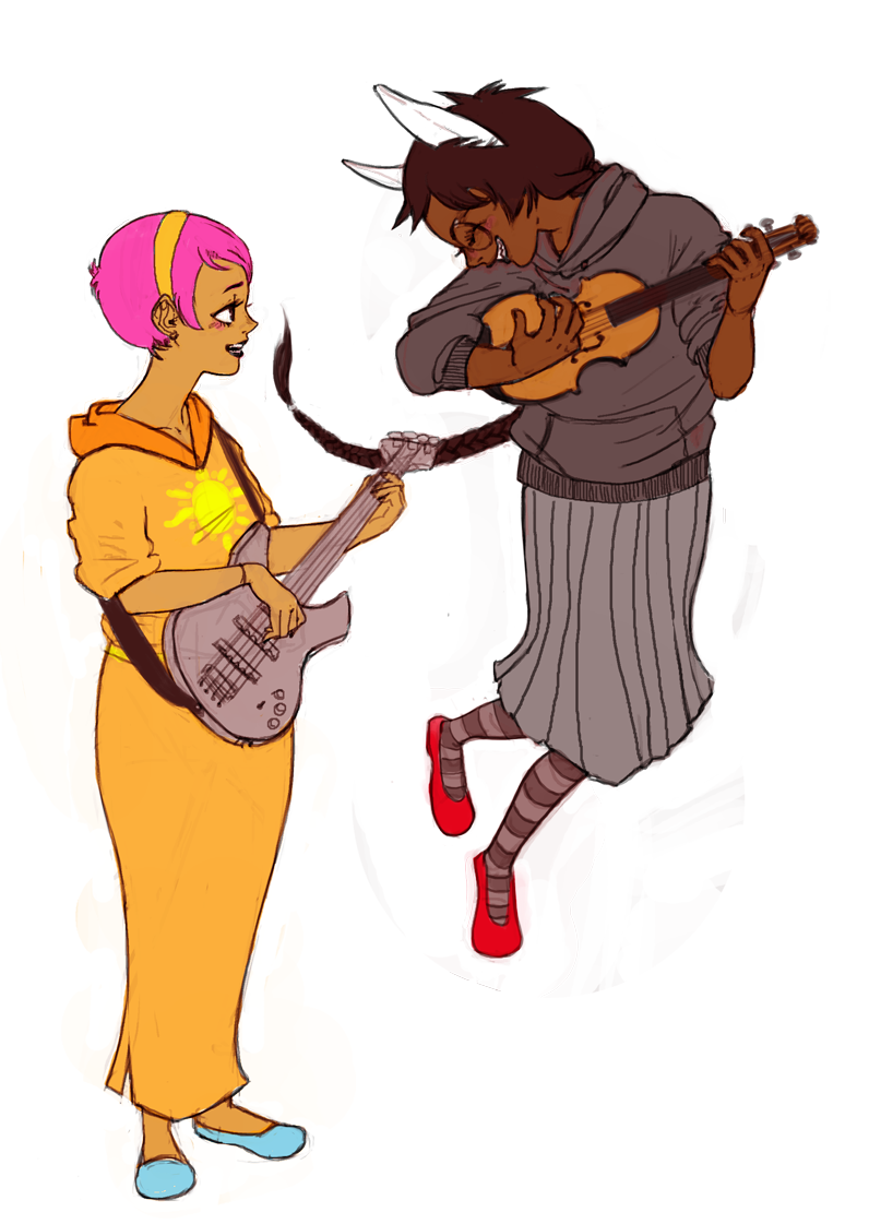yapoos:  jade what are you doing no that's not how violins work rose and jade rockin' out, a surprise commission for iamingrid! i hope you like it aaaaaaah!!!ヽ(́◕◞౪◟◕‵)ノ