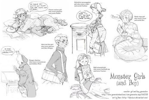 Monster Generator sketches by *Barukurii