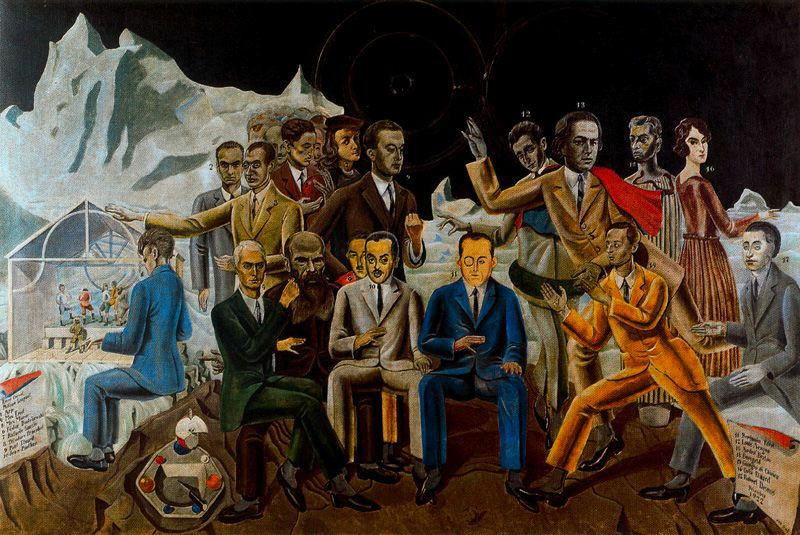 Max Ernst,  At the Rendez-vous of Friends,  1922 The Dada movement, 1916 - 1920s. Seated from left to right: René Crevel, Max Ernst, Dostoievsky, Théodore Fraenkel, Jean Paulhan, Benjamin Péret, Johannes Baargeld, Robert Desnos. Standing: Philippe Soupault, Jean Arp, Max Morise, Raphaël, Paul Éluard, Louis Aragon, André Breton, Giorgio de Chirico, Gala Éluard