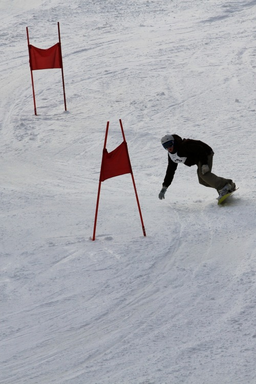 Feb. 4, 2012 - Snowboarding down the course at the CSC Jimmy Fund Snow Challenge