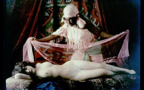maudelynn:  Autochrome titled Olympia (based on Edouard Manet's 1863 painting of the same name), c.1910, by Marcel Meys