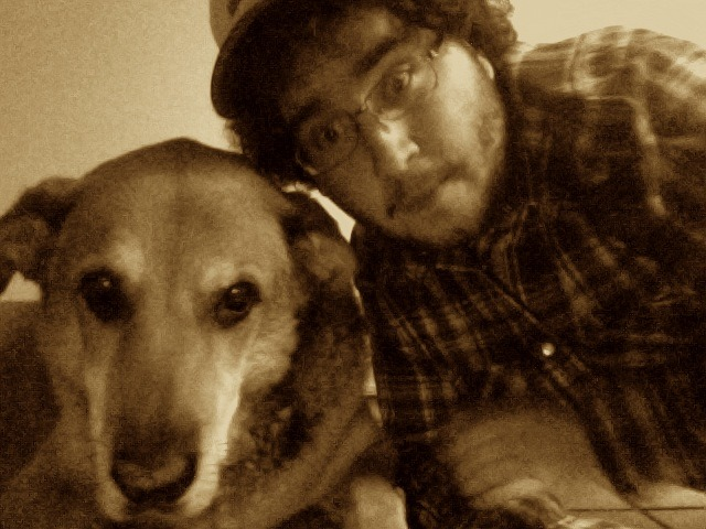 Me and my nearly dead dog.