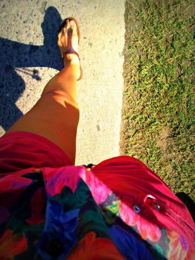 "I love feeling the morning sun wrap around my bare legs like a warm cloak. I love how, in bright daylight, every color seems more alive: the blues seem bluer, the yellows seem yellower, and the whites just dazzle with a proud grace. But when noontime hits and it gets too hot, I'm like, ""AAAAAAAH GET ME OUT OF HERE!!!"""