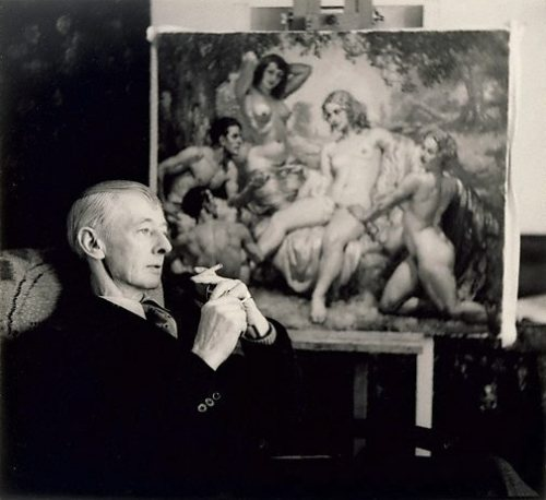 Norman Lindsay (in front of painting) by William Buckle **can't find background painting any links, help?