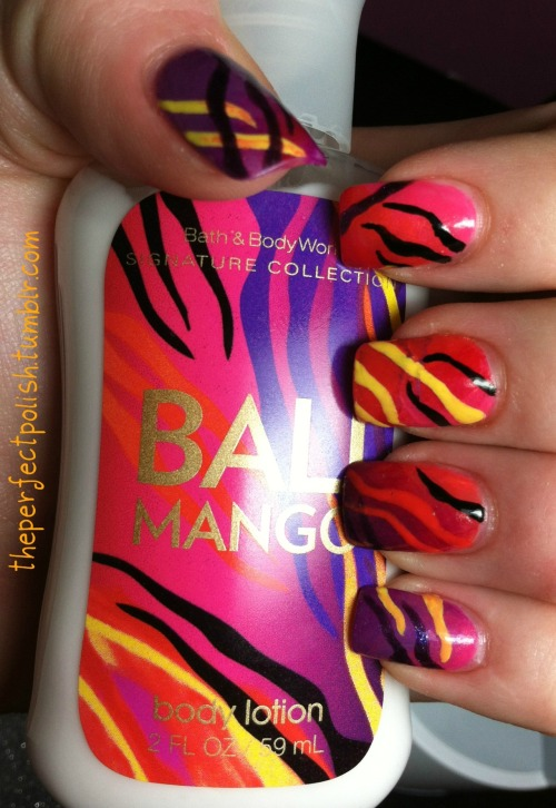 Bali Mango lotion inspired nails! :) So fun and bright. Enjoy and follow my blog! <3