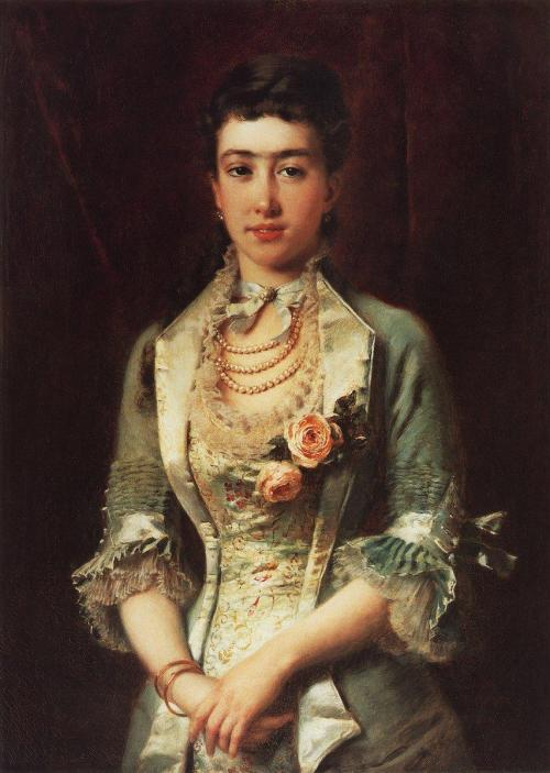 Portrait of a Woman by Konstantin Makovsky, 1870's-80's Russia The dress is so pretty I almost didn't notice the eyebrow