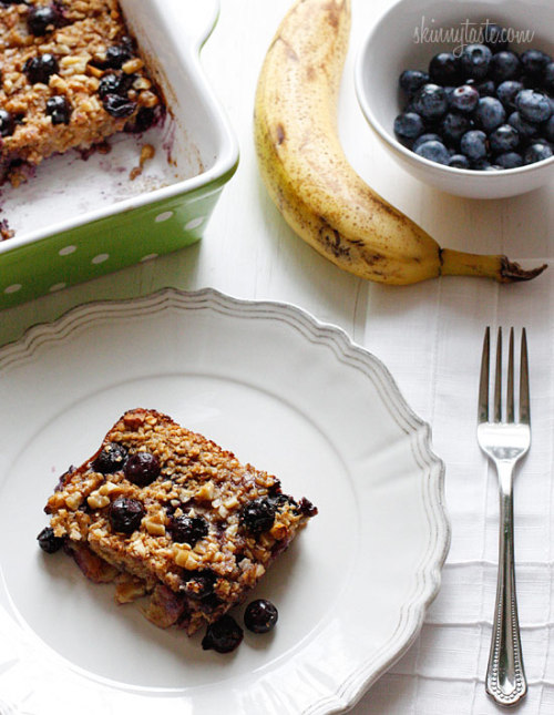 Baked Oatmeal, Blueberry and Banana Squares!