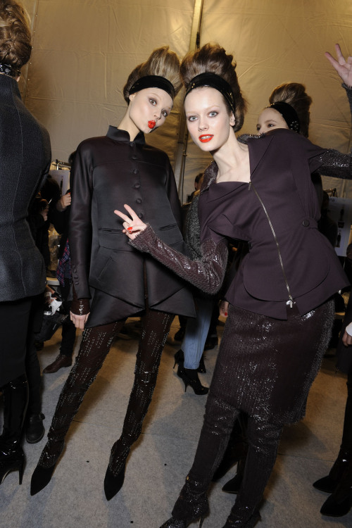 aclockworkpink:  Magdalena & Jac Backstage, Karl Lagerfeld F/W 2010, Paris Fashion Week