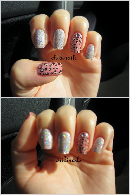 Leopard print and holographic glitter nails. Something quick before I fly off to HK! My camera seriously doesn't do justice for this beautiful holo polish.