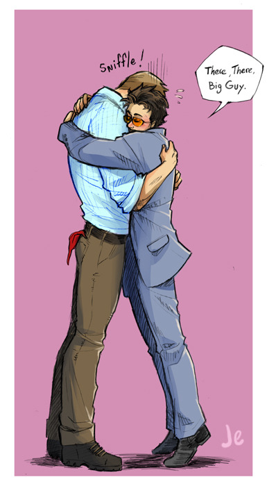 joannaestep:  Some Steve/Tony hugs.  <3 Even Captain America has bad days, right?  Right?  He needs hugs. Lots of hugs.