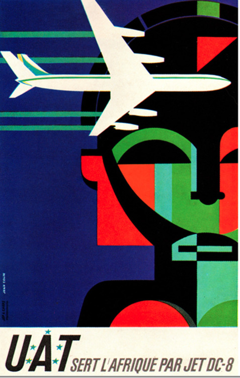 Jean Colin Illustration.  Poster for jet service to Africa by Union Aeromaritime de Transport. From Graphis Annual, 1963/64.
