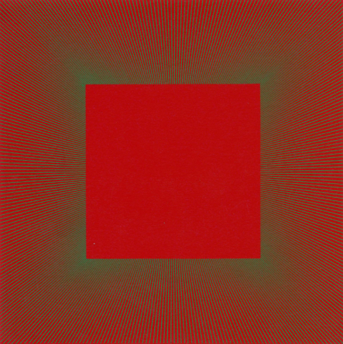 MOON AND SUN FURNACESMETAMORPHOSIS OF CADMIUM RED GREEN LINE, 1979 - Richard Anuszkiewicz (1930 -