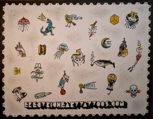 2011 New Year's flash sheet from Electric Heart Tattoos