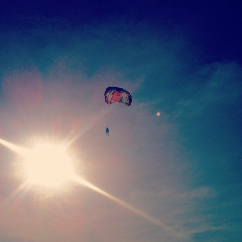 Sun. Parachute. Moon. Beach. Holiday.  (Taken with Instagram at Bora Bora Sunset)