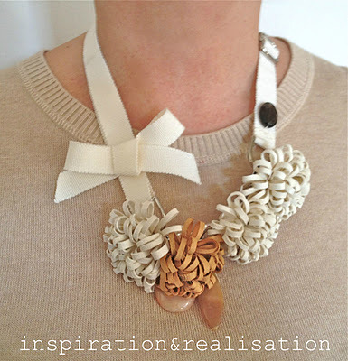 Leather Corsage Necklace | Inspiration & Realisation I recently bought some leather offcuts from etsy and I'm now looking for projects that I really want to use with it because it was quite expensive and I don't want to waste it! I adore this necklace, especially the corsage-y leather blooms. I think that this would be a good use of my cuts!