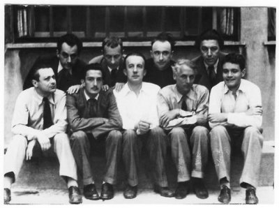 cacophonism:   Surrealists: Man Ray, Jean Arp, Yves Tanguy, André Breton; Tristan Tzara, Salvador Dalí, Paul Eluard, Max Ernst and Rene Clevel, 1930.   I love you guys but why is Rene Margritte not here?