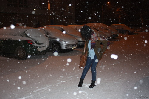 In the snow last night.