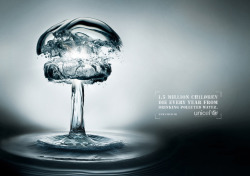 katesdesigninfluences:  Unicef Water Bomb Advert. Striking imagery which is neat and clear. Brilliant.