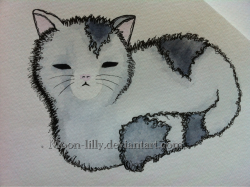 Meow! Watercolour and fine liner pen :)