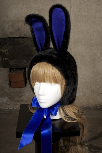 Black x blue Bunny hood from Ergi by Piratessan